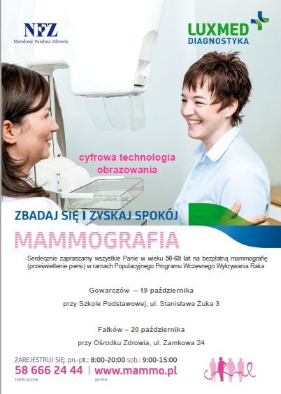 Plakat reklamujący badania mammograficzne