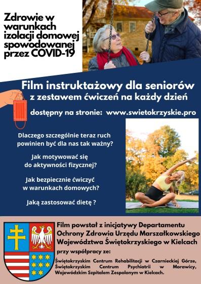 Plakat z informacjami dla seniorów dotyczący ćwiczeń po COVID-19