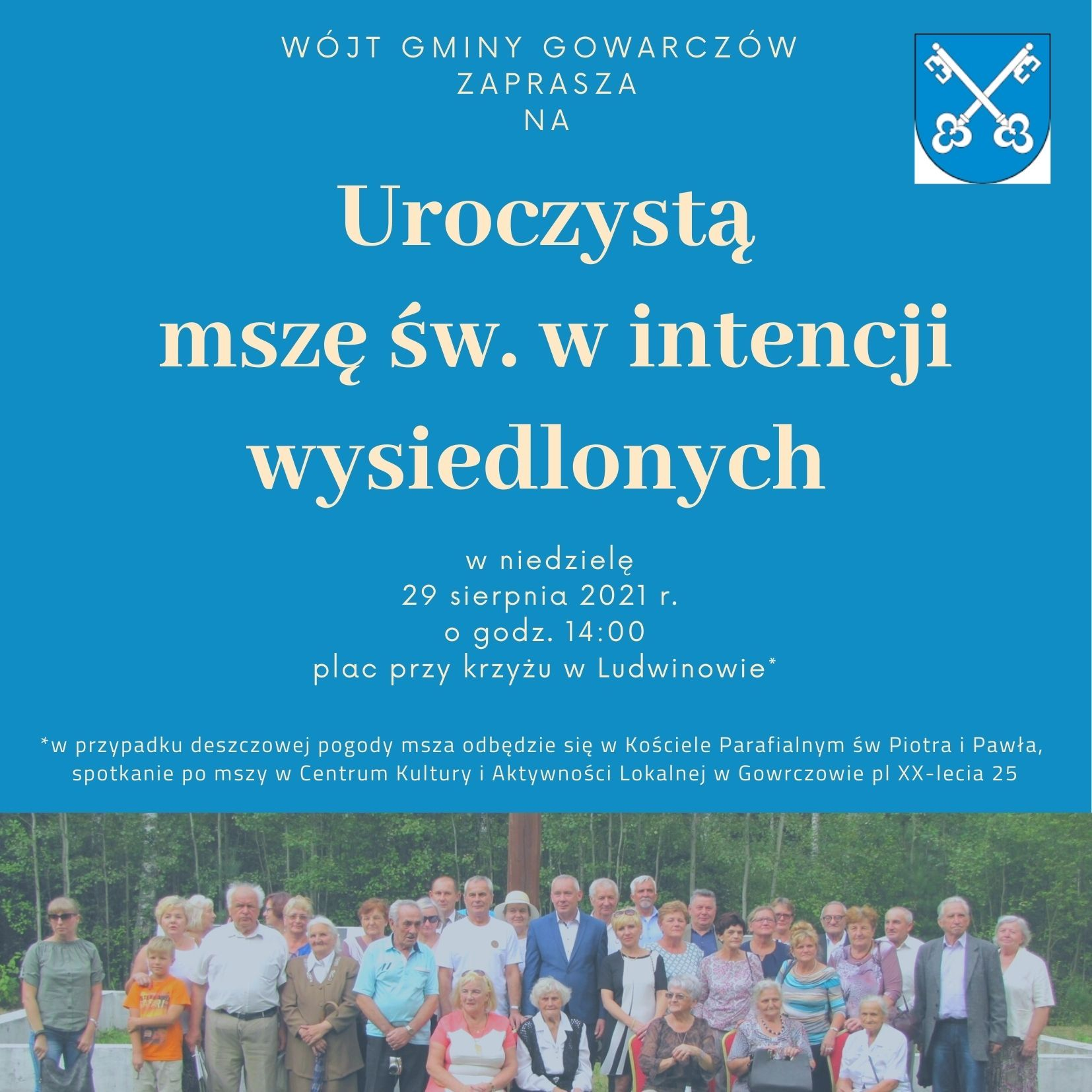 Zaproszenie na uroczystą mszę świętą w Ludwinowie